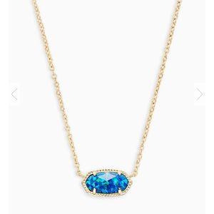 Kendra Scott gold Elise in blue Kyocera opal